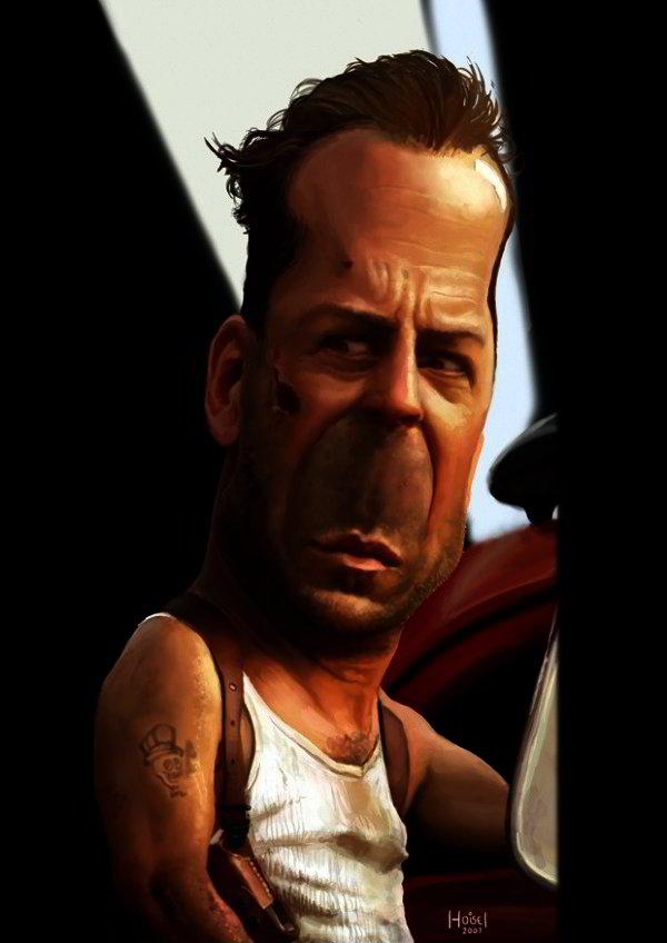 Caricature of Bruce Willis