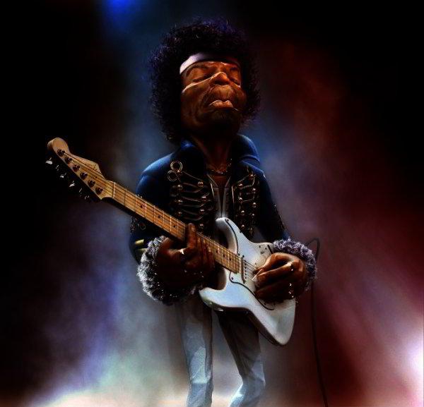 Caricature of Jimi Hendrix