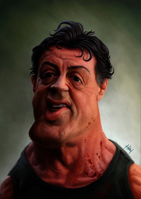 Famous Caricatures: Sylvester Stallone