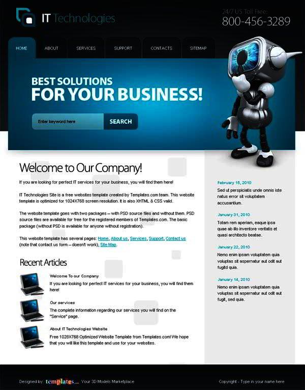 Top free website templates 2013