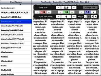 font displayer - iPad app