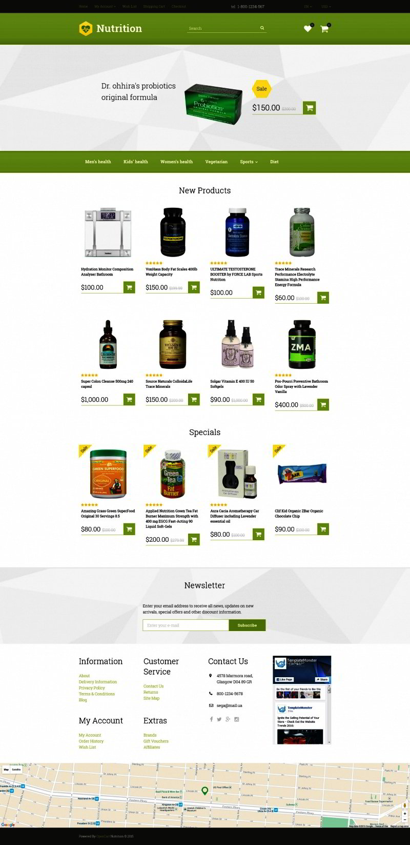 Supplement Store OpenCart Template