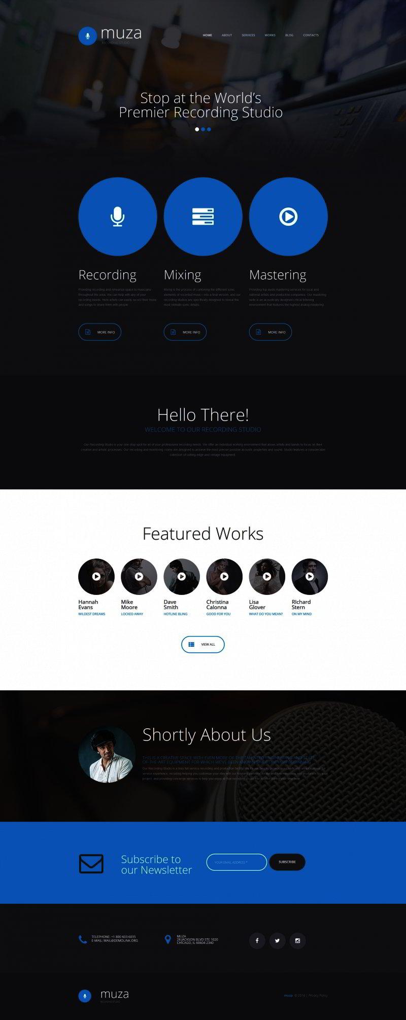 Recording Studio Responsive Moto CMS 3 Template