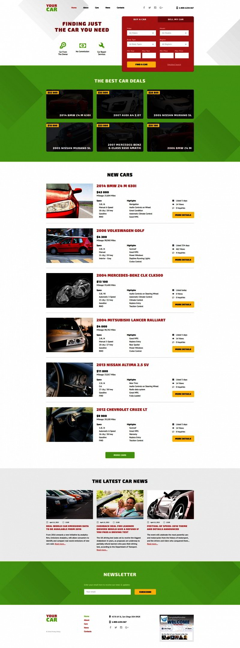 car dealer web template