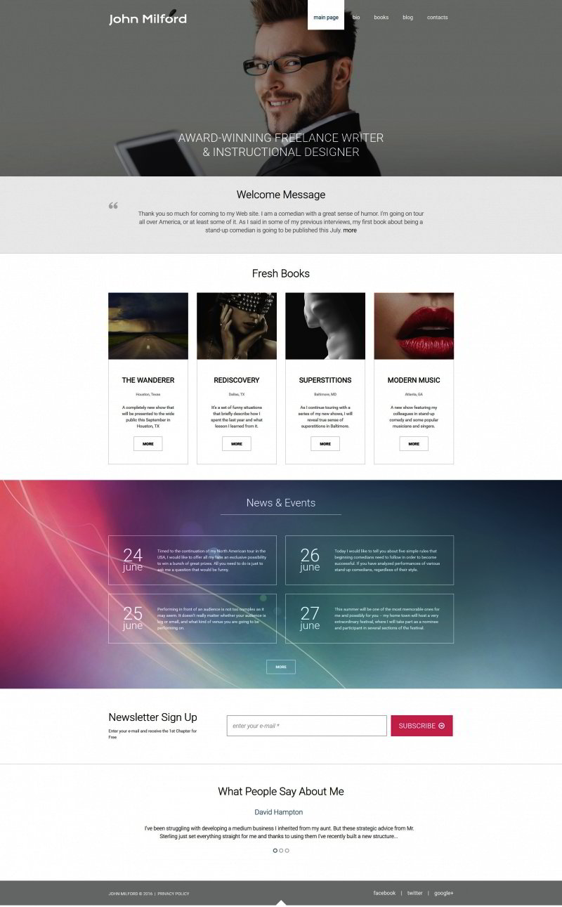 Writer/Author Responsive Moto CMS 3 Template