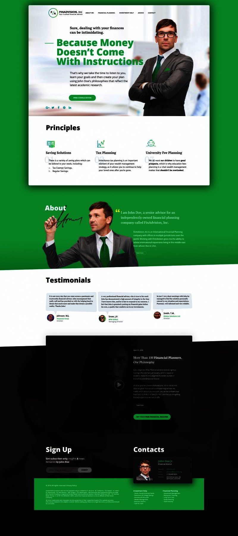 Financial Advisor Bootstrap Template