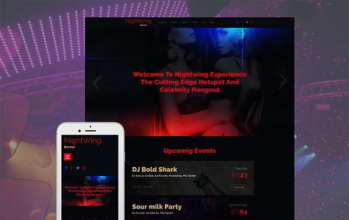 Night Club Responsive Moto CMS 3 Template