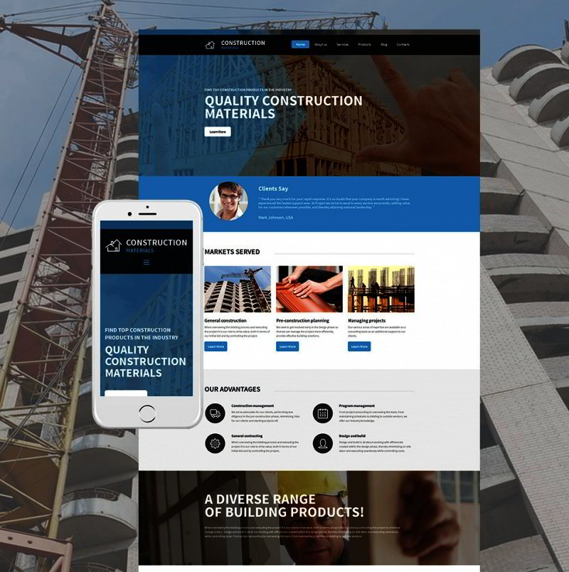 Building Materials Responsive Moto CMS 3 Template