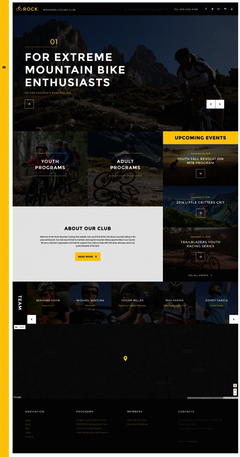 Rock - Mountain Cycling Club Responsive Website Template