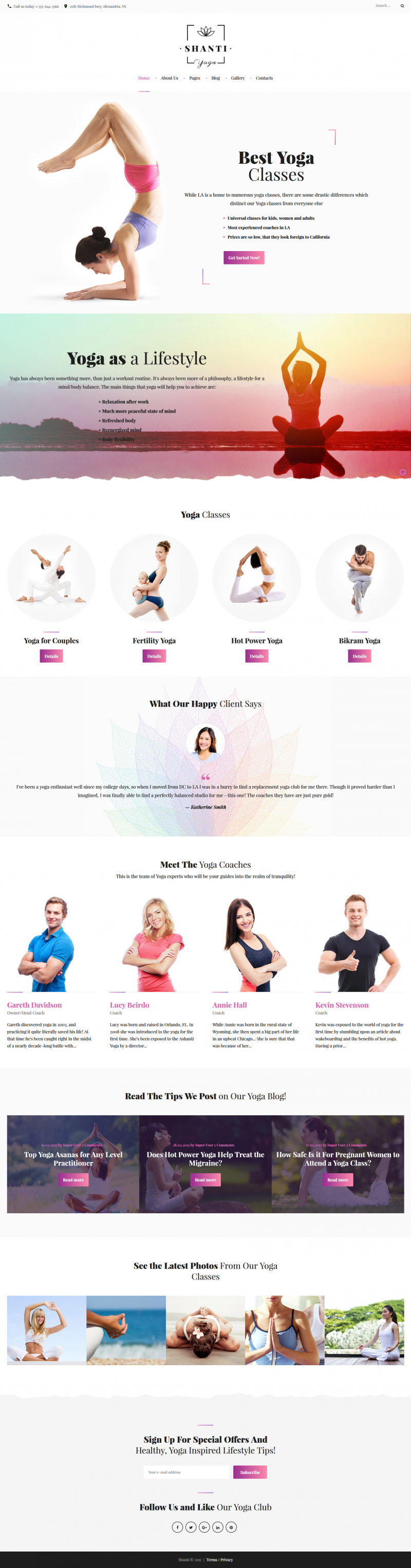 Shanti - Yoga Classes Responsive Joomla Template