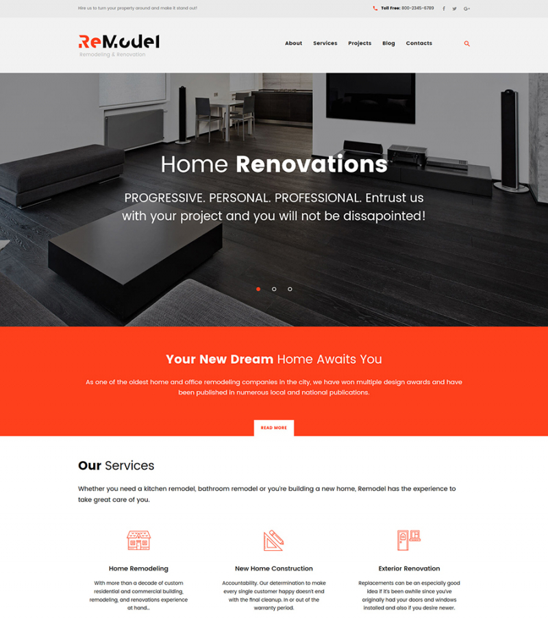 Remodel - Renovation & Interior Design WordPress Theme