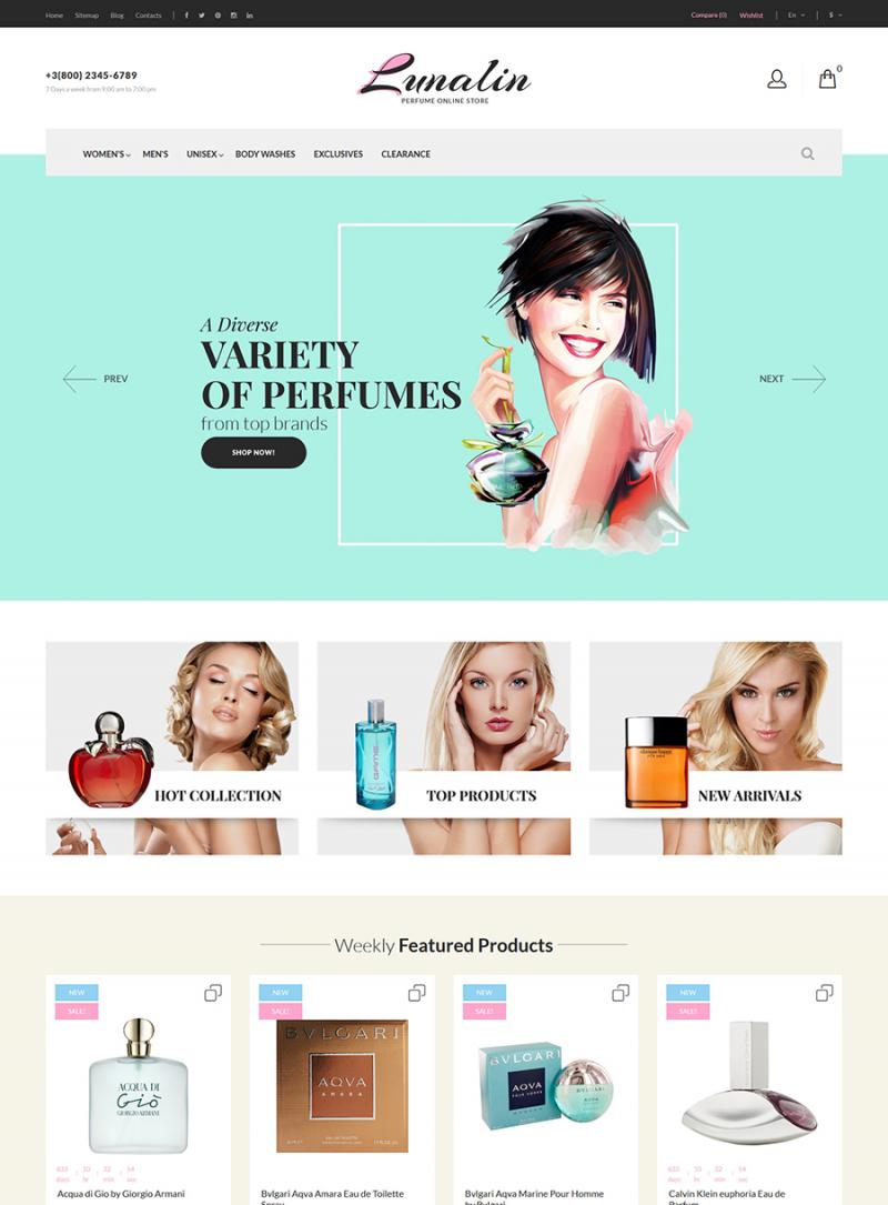Lunalin - Perfume & Cologne Store PrestaShop Theme